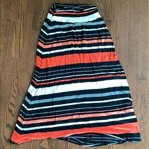 Pink/coral striped maxi skirt